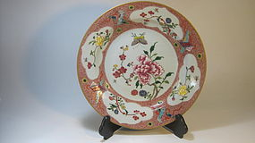 18th C. Chinese Export Porcelain Rose Famille charger