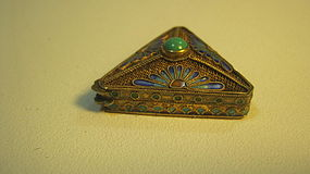 A Beautiful Vintage Chinese Silver Enamel Triangle Box