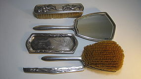Early 20th C. Chinese Silver Vanity Set Marked