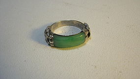 A Beautiful Old Chines Silver Ring With Jadeite Marked