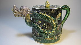 Late 19th/20th C. Chinese Porcelain Dragon Tea Pot