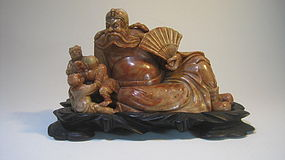 Beautiful Old Chinese Ghost Buster Soapstone Sculpture