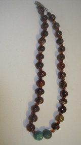 Vintage Agate Necklace With Turquoise And Silver Clasp