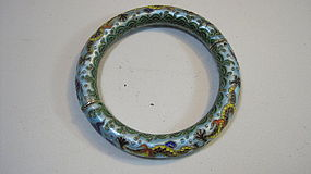 A Beautiful Vintage Chinese Export Silver Enamel Bangle