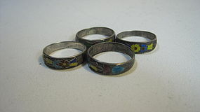 Group Of Late 19/20th C. Chinese Silver Enamel Ring MK