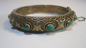 Beautiful Early 20th C. Chinese Silver Malachite Bangle