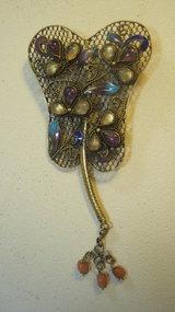 Chinese Vintage Silver Enamel Amethyst Brooch Marked