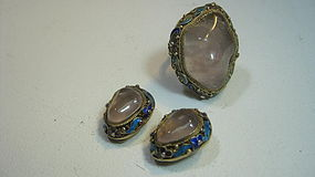 Vintage Chinese Silver Enamel Earring Ring & Ring Set