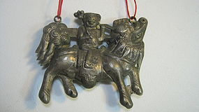 A Beautiful Old Chinese Silver Pendant With A Kid Fudog