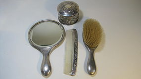 Late 19th/20th C. Chinese Export Silver Vanity Set MK.
