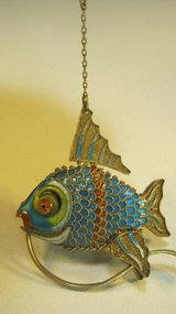 Beautiful Early 20th C. Chinese Silver Enamel Fish