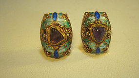 Early 20th C. Chinese Silver Enamel Earrings Marked