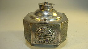 A Old Early 20th C. Chinese Silver Opium lamp Marked