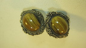 Vintage Chinese Silver Tiger Eye Earrings Marked
