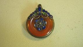 A Vintage Chinese Silver Enamel Carnelian Pendant