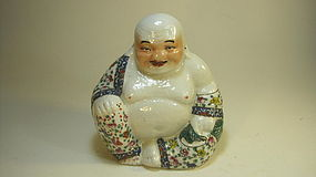 A Early 20th C. Chinese Famille Rose Porcelain Buddha