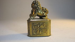A Beautiful Late 19th C. Chinese Gold Washed Silver Box