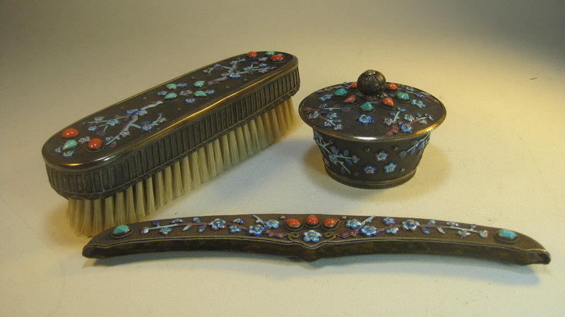 A 20th C. Chinese Export Silver Enamel Vanity Set Mk.