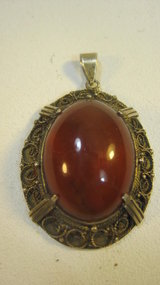 Early 20th C. Chinese Silver Amber Pendant Marked