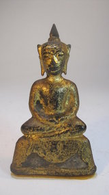 A 19th C. Southeast Asia Bronze Gold Gilt Buddha