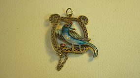 A Beautiful Small Chinese Silver Enamel Bird Pendant MK