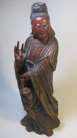 19th C. Chinese Red Lacquer Wood Quanyin Bu