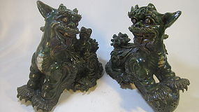 Pair Of Beautiful Old Chinese Pottery Fu dogs / Lions