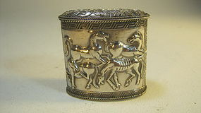 Early 20th C. Chinese Silver Opium Box With Horses MK