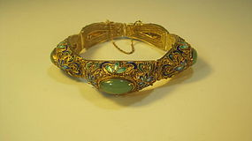 Early 20th C. Chinese Silver Enamel With Jade Bracelet