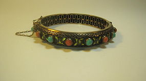 Chinese Silver Enamel Gold Wash Coral Turquoise Bangle