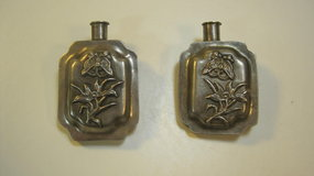 Two Pieces Of Old Chinese Silver Snuff Bottle Style Pin