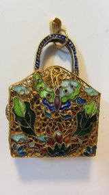 A Beautiful Old Chinese Silver Enamel Purse Pendant
