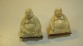 Pair Of Beautiful Old Chinese Ivory Buddha Earrings