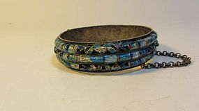 Early 20th C. Chinese Silver Enamel Bangle