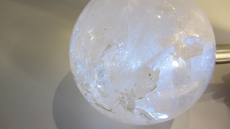 A Beautiful Vintage Rock Crystal Ball With Wood Stand