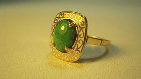 Old Chinese Jadeite 14K Gold White Enamel Inlay Ring Mk
