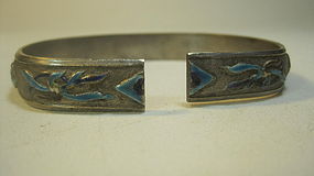 Beautiful Old Chinese Silver Enamel Bangle Marked
