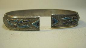 Beautiful Old Chinese Silver Enamel Bangle Marked