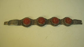 A Early 20th C. Chinese Silver Carnelian Bracelet MK.
