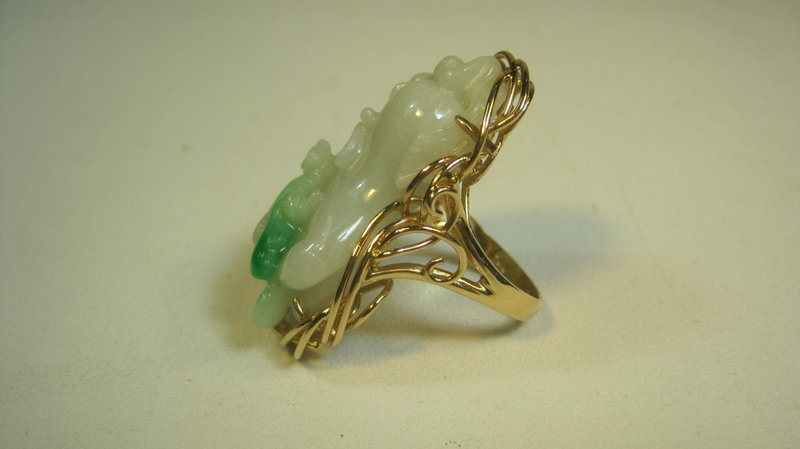 Beautiful 19th C. Chinese 14K Gold Jadeite Ring Marked