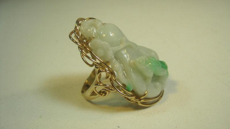 Beautiful 19th C. Chinese 14K Gold Jadeite Ring Marked