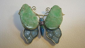 Antique Chinese Jadeite Silver Enamel Brooch Marked