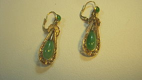Beautiful Antique 14k Chinese Jadeite Earrings Marked