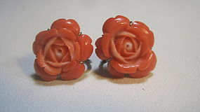 A Pair Of Early 20th C. Vintage Coral Earrings