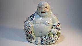 A Beautiful Old Chinese Famille Rose Porcelain Buddha