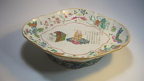 Late 19th C. Chinese Famille Rose Porcelain Dish Plate