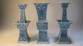 19th C. Chinese Blue & White Porcelain Candle Holder