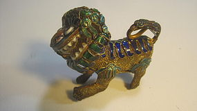 A Beautiful Early 20th C. Chinese Silver Enamel Lion