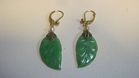 Late 19th / 20th C. Chinese Jadeite Earrings 14K Gold