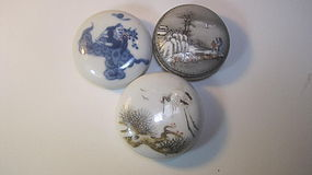 3 Pcs Early 20th C. Chinese Porcelain Ink Box Marked